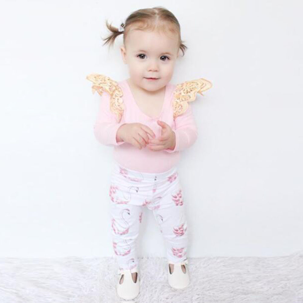 New Arrival 0-18M Newborn Boys Girls Clothes Set Baby Kids Pink Rompers Swan Print Pants 2pcs/Set Clothes Outfit Set For Autumn cotton baby rompers set newborn clothes baby clothing boys girls cartoon jumpsuits long sleeve overalls coveralls autumn winter