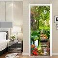 Зеленый лес пейзаж ПВХ водонепроницаемый самоклеющиеся наклейки на дверь обои для гостиной спальни наклейки на дверь Настенная Наклейка
