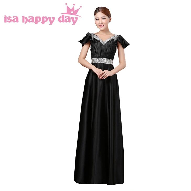 Dames sexy satin une ligne élégante col en v belle longueur de plancher à manches longues robes robe de soirée noire robe formelle H2914