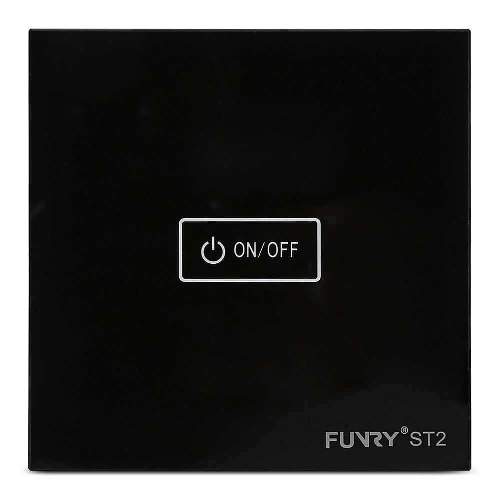все цены на Touch Switch FUNRY ST2 1 gang 1 way EU Standard Glass Switch Panel 170-240V 7-200W/gang 86*86*36mm Single Fire Line Light Switch онлайн