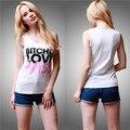 """""""CADELAS AMO BASS"""" prints camisetas sem mangas tops black & white shirt verão mulheres laides punks shrts camisas blusa"""