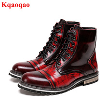 Wine Red Color Mid-calf Men Boots Front Lace Up Short Booties Med Heel Autumn Winter High Top Shoes Brand Superstar Runway Shoes