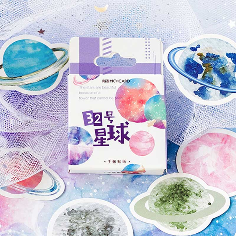 45 Pcs/box No. 32 Planet Stickers Scrapbooking Journal Stationery Diary Japanese Paper Cute Decorative Space Planets Sticker