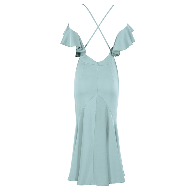 New Summer Dresses Vestidos Women Elagant Mermaid Evening Party Dress Sexy Backless Ruffles Bodycon Clubwears
