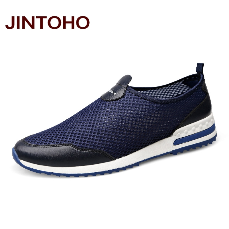 JINTOHO Loafers 2017 New Men Casual Shoes Summer Casual Male Shoes Breathable Mesh Men Flats Slip On Men Loafers Big Size aleader high quality mens loafers casual fashion men shoes flats breathable men slip on driving shoes big size swims loafers