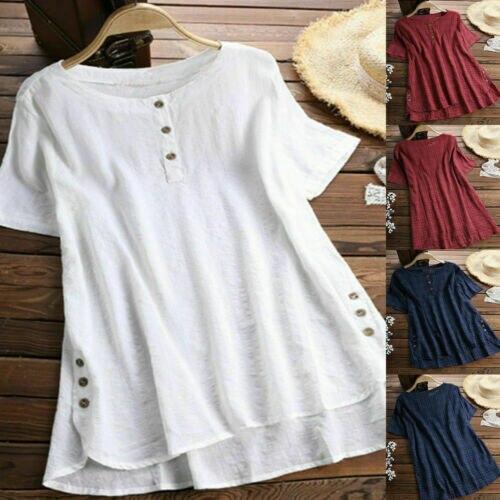 Women Summer Short Sleeve   Blouse   Woman Ladies Cotton Linen   Blouse   Female Casual   Shirts   Tops Blusa Feminina Plus Size S-5XL
