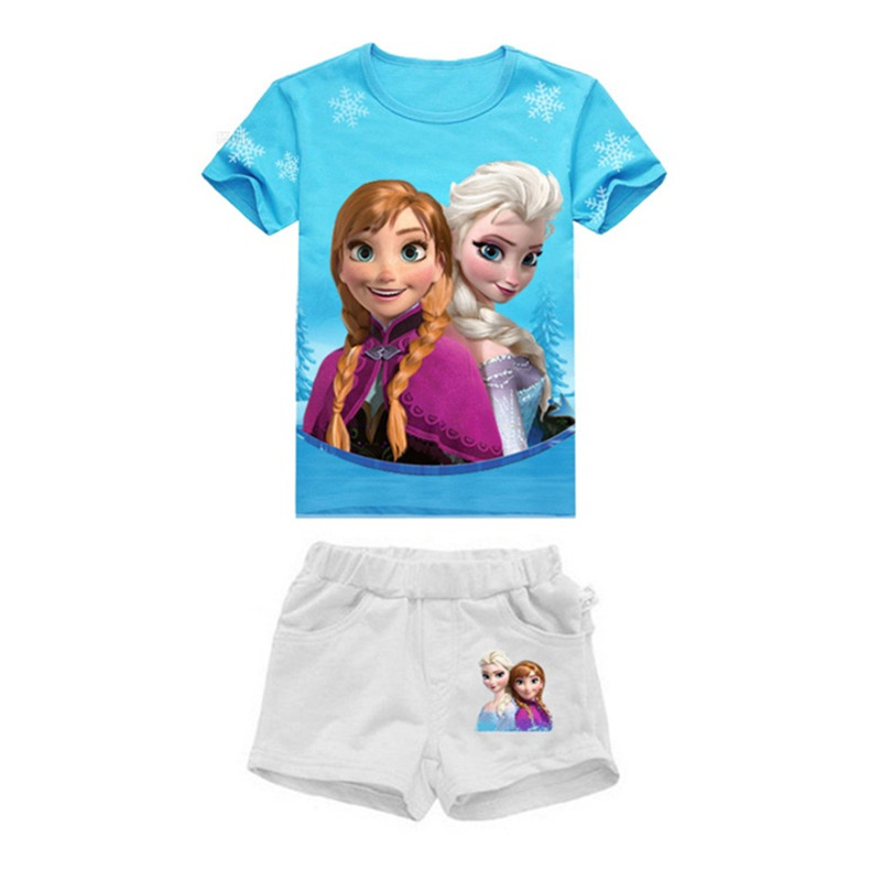 Одежда для девочек с принцессой Эльзой и Анной, футболка, летний комплект из 2 предметов, футболка с короткими рукавами и рисунком+ шорты, детская одежда из хлопка для 3-7 лет - Цвет: Синий