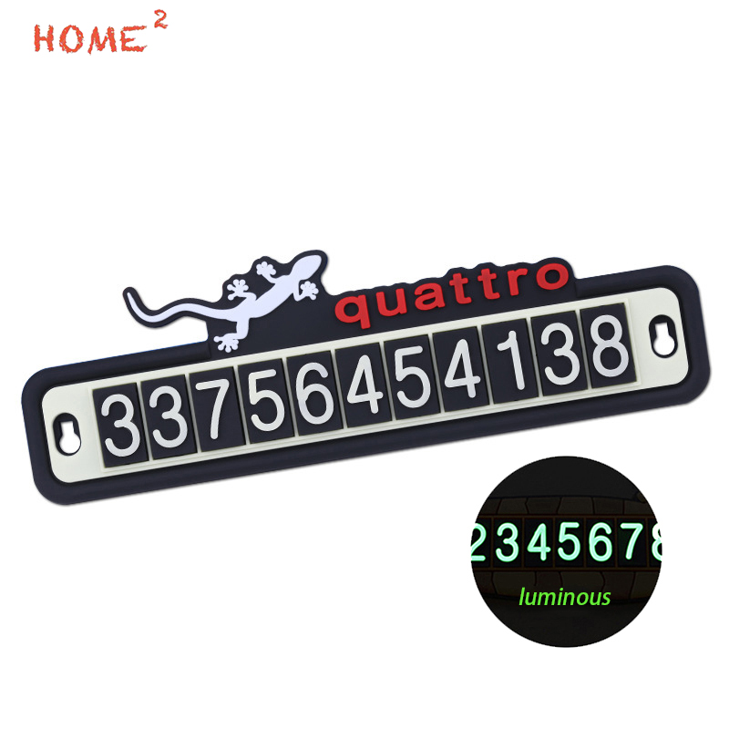 Car Phone Number Parking Card Luminous Gecko Auto Sticker Decal Accessories for Audi Quattro S1 A3 A4 A5 A6 A7 A8 r8 Q3 Q5 TT q7 12v parking rgb reversing video camera for vw tiguan a4 a6 q5 rns510 rcd510 5nd 827 566 c 5n0 827 566c 5nd827566c