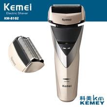 Kemei barbeador elétrico recarregável 3d, elétrico, lavável, máquina de barbear para homens, cuidados faciais