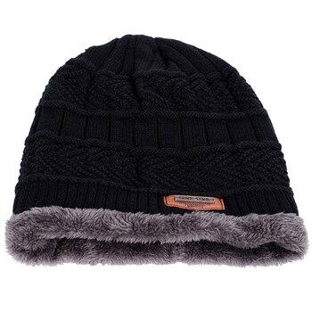 2018 New Brand Solid Color Knit Beanie Hat Men's Winter Hats Boy Warm Plus Velvet Thicken Hedging Cap Skullies Wool Bone Male