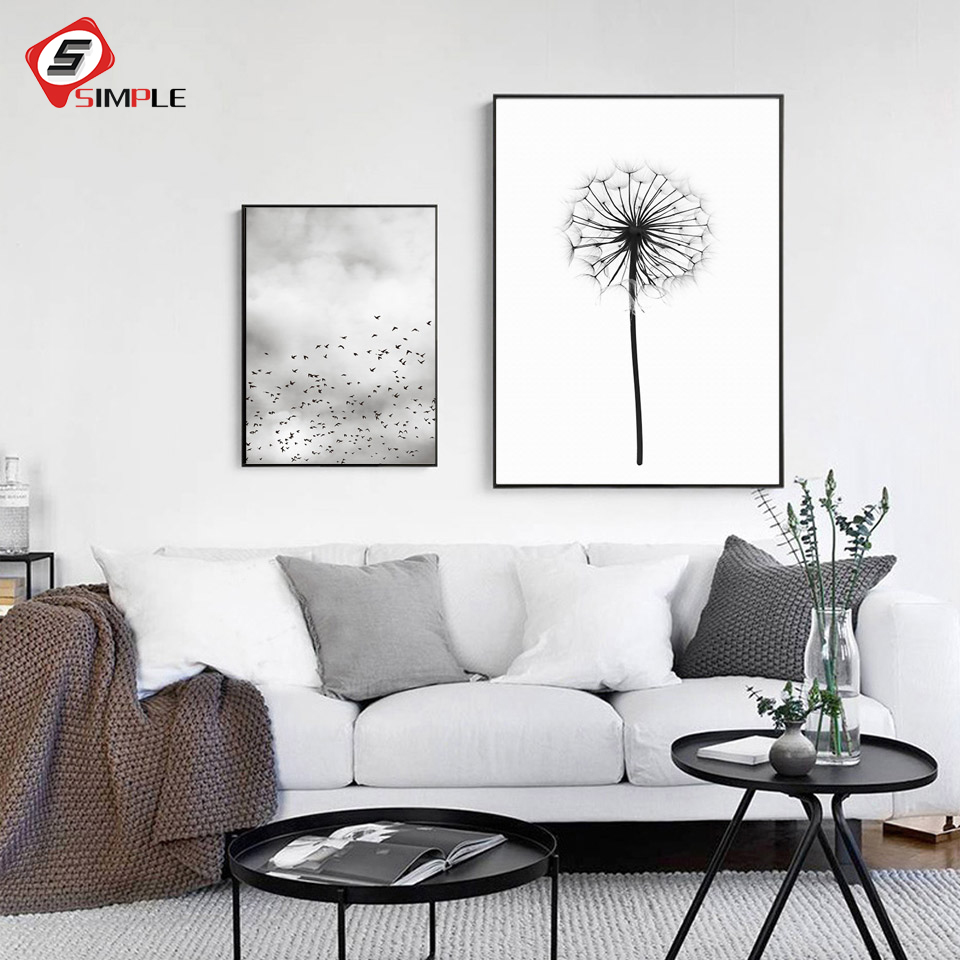 Dandelion Painting Posters Prints Scandinavian Canvas