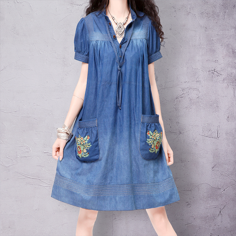 ARTKA Loose Vivan Style Cascading Ruffles Female Short sleeve Stand Collar Cross Stitch Denim Combo Dress