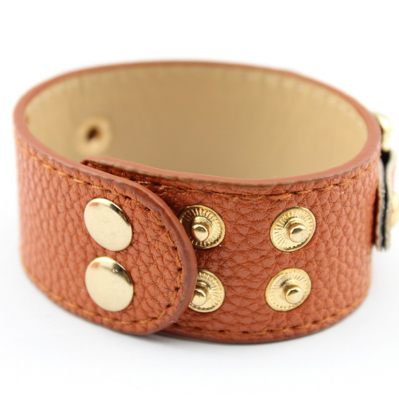 Wholesale Silver & Gold Blank Monogram Leather Wrap Bracelets for Women Fashion Snap Jewelry 21