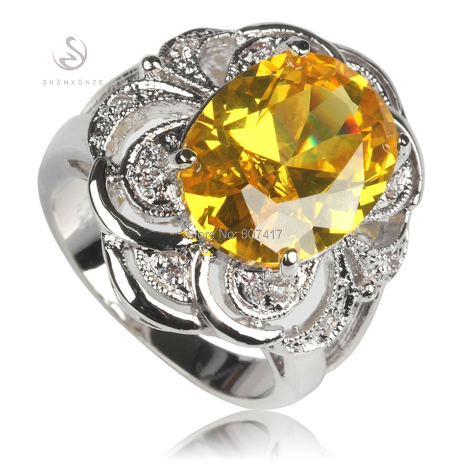 Trendy Recommend Yellow Cubic Zirconia fashion jewelry Silver Plated Free shipping RING R552 sz 6 7