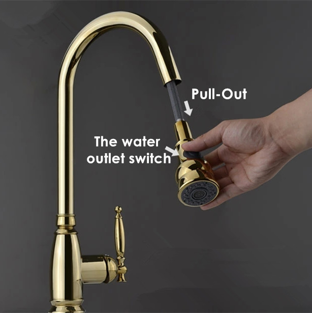 2017 Wholesale Promotion Polished Copper Swivel Robinet Torneira Single Hole Gold Pull Out Kitchen Faucet Sink