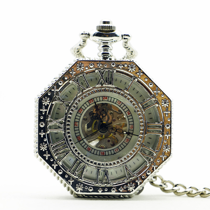 Luxury Antique&Vintage Hexagonal Arabic Numerals Mechanical Pocket Watch With FOB Chain Full Steel For Men Women PJX1196
