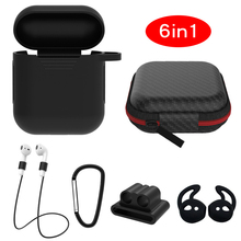 6 pcs In 1 Sets Silicone Protective Accessories Kits for Airpods 1 2 Case Ring Strap Hook Winder Hol