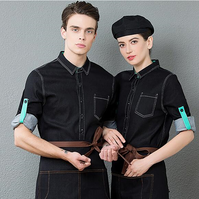 Waitress Workwear Long Sleeve Hotel Restaurant Catering Uniform Jacket Hot Pot Cafe High Quality Men Waiter Single Top H2341
