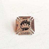 50pcs Free Masons Brooch Masonic Custom Lapel Pin Badge Knights Templar York Rite VINCES IN HOC SIGNO Soft Enamel Pins Badge