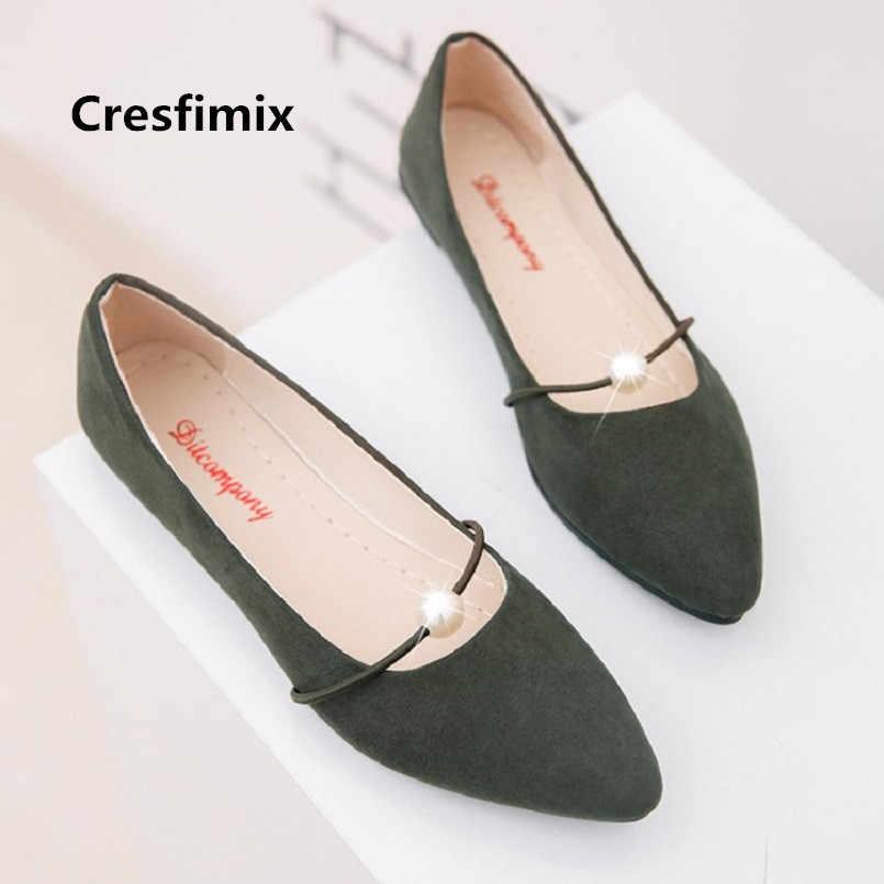 Cresfimix femmes mode poids léger sans lacet chaussures plates dame décontracté chaussures de ville bureau appartements zapatos planos de mujer a3492
