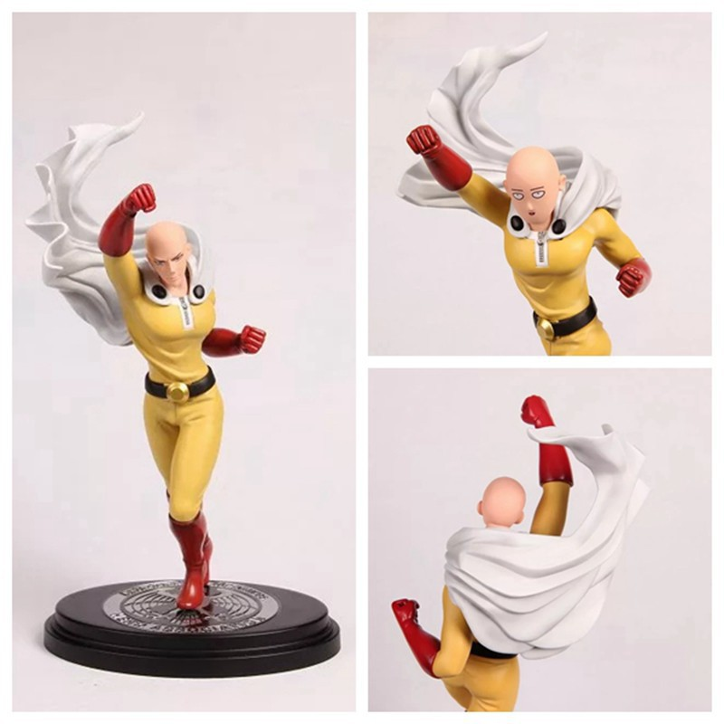 Anime ONE PUNCH MAN Saitama Sensei Face can change PVC Action Figure Collectible Model Toy 26.5cmKT3146