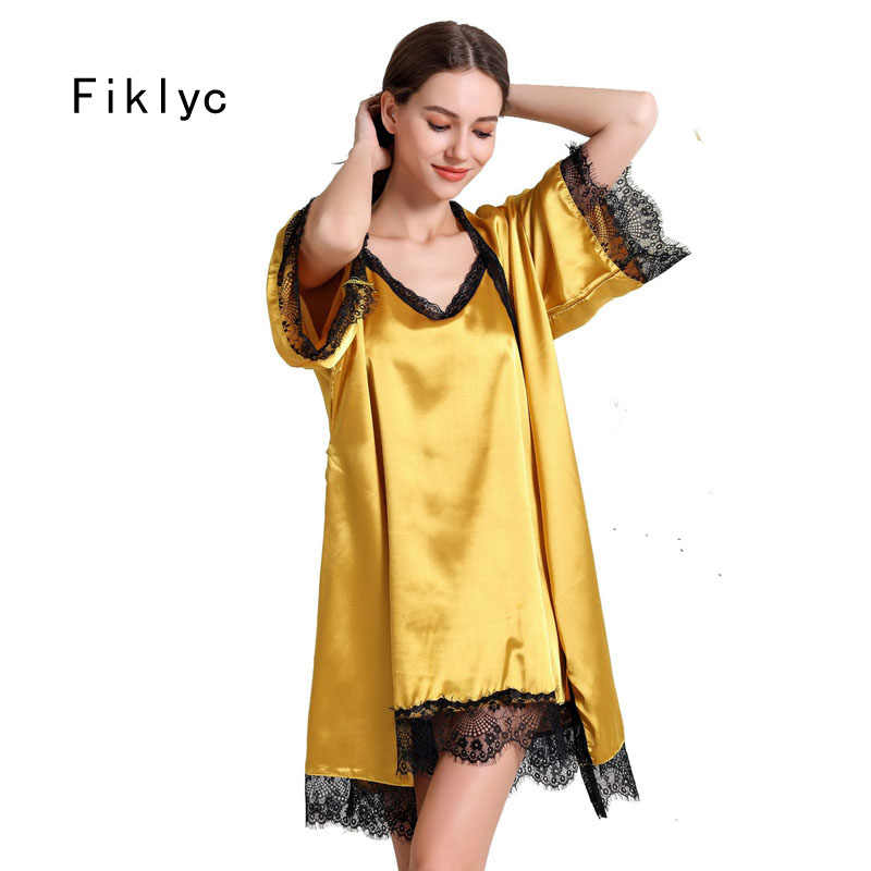 Fiklyc underwear short sleeve robe & gown sets luxury beautiful bathrobes + nightdress two pieces sleepwear sets HOT items