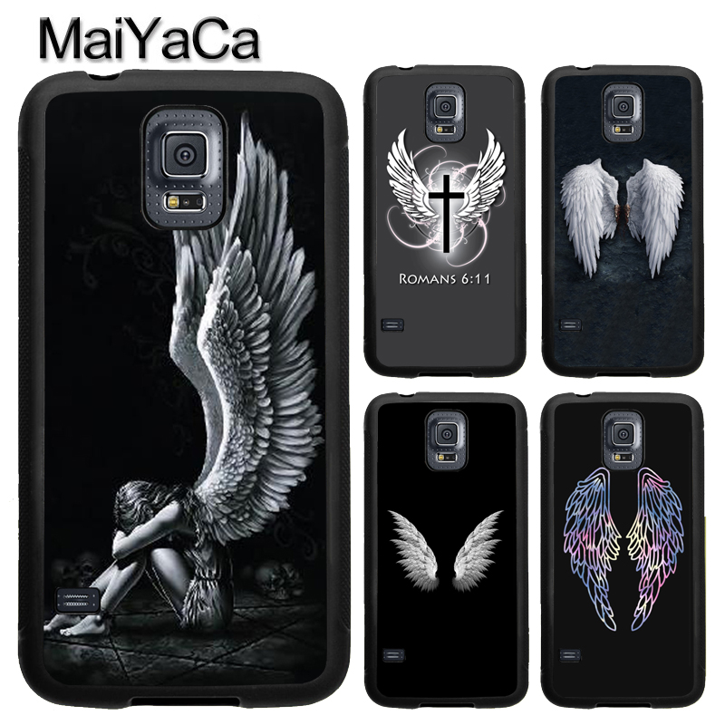 MaiYaCa Angel Wings Heart Full Cover Rubber Case for Samsung Galaxy S8 S9 Plus S4 S5 S6 S7 edge Note 8 Note 5 Case