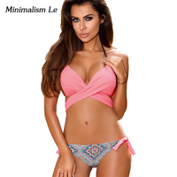 Minimalism Le Sexy Bandage Bikini 2017 Cross Patchwork Print Biquini Women Swimwear Push Up Maillot Swimsuit