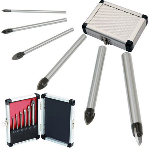 Useful New 6pcs Glass And Tile Drill Bit Set Kit 3 4 5 6 8 10 mm + Case