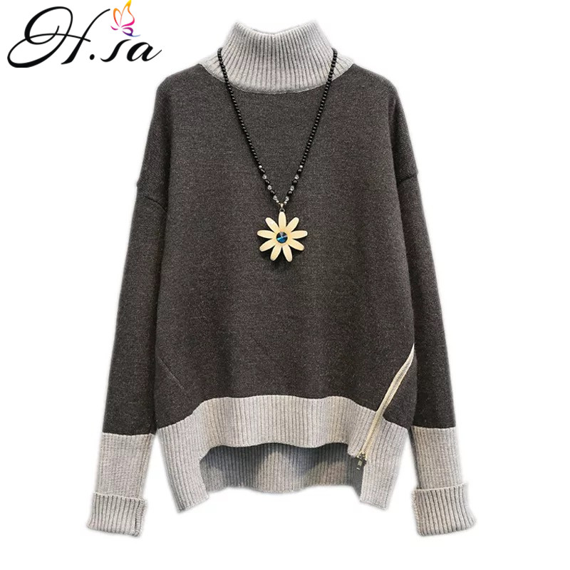 H.SA 2017 Women Winter Turtleneck Sweater Casual Pullover Jumpers Side Zip Knitted Pull Sweater Warm Thick Turtleneck Sweaters