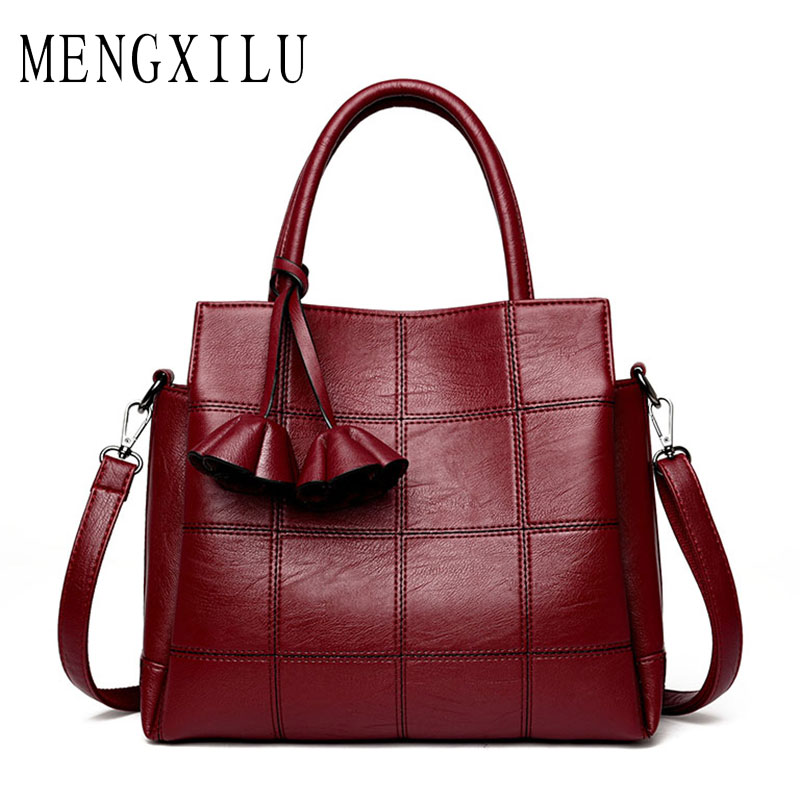 MENGXILU Fashion Plaid Leather Women Bags Handbags Women Famous Brands 2017 Luxury Designer Rose Female Shoulder Bag Ladies Sac