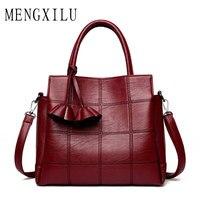 MENGXILU Fashion Plaid Leather Women Bags Handbags Women Famous Brands 2017 Luxury Designer Rose Female Shoulder
