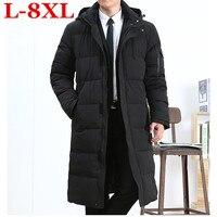 Большие размеры 8XL 7XL 6XL 5XL Длинная зимняя куртка для мужчин брендовая одежда мужской хлопок Весна пальто новый одежда высшего качества черны