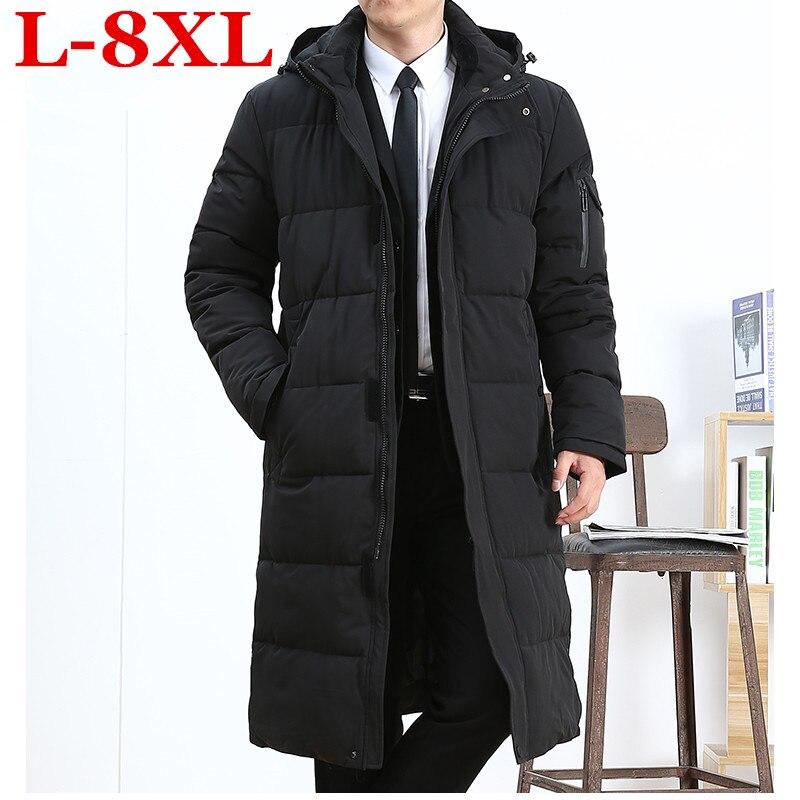 Plus size 8XL 7XL 6XL 5XL longos homens Jaqueta de inverno roupas de marca casaco de Primavera do sexo masculino de algodão New top quality preto parkas para baixo dos homens