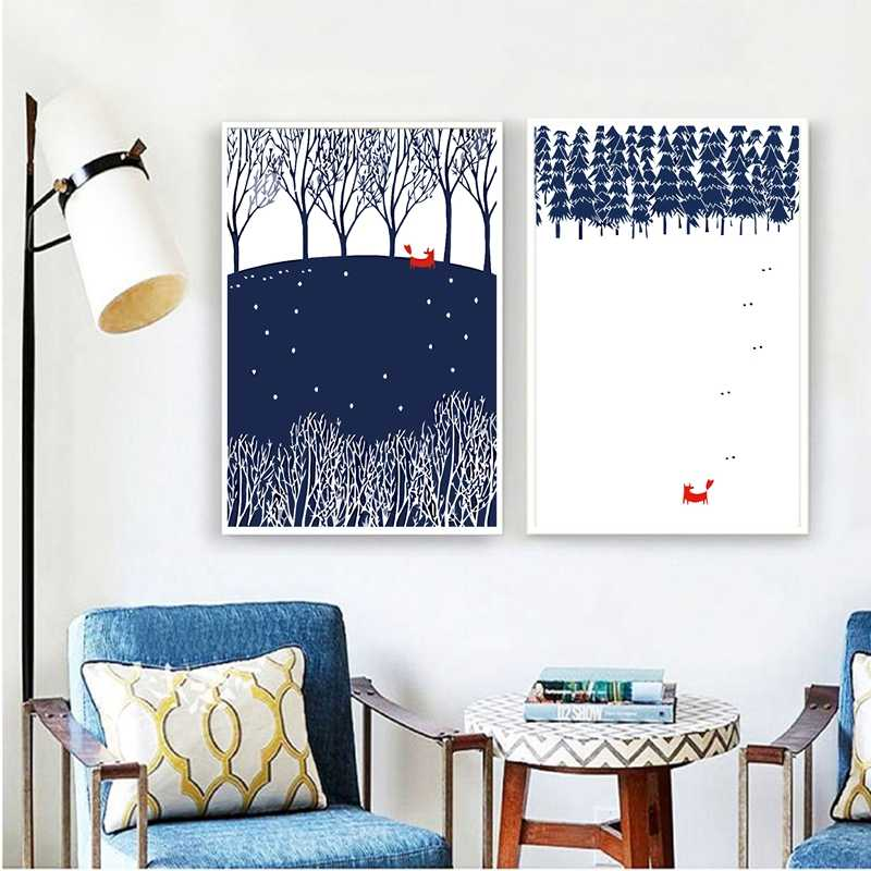 Modern Nordic Minimalist Landscape Animal Fox Winter forest Snow Art Print Poster Wall Picture Canvas Painting Home Decor