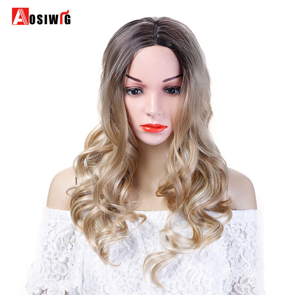 Long Wavy Wig Ombre Black Brown Hair Synthetic Wig Heat Resistant Costume Party Cosplay Wigs for Women AOSIWIG