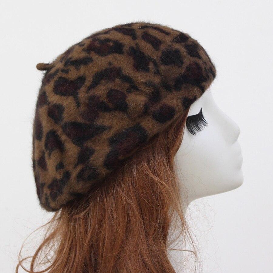 Jesen in zima Nova moda Ženske tople baretke Leopard Vzorec Ženske - Oblačilni dodatki - Fotografija 4