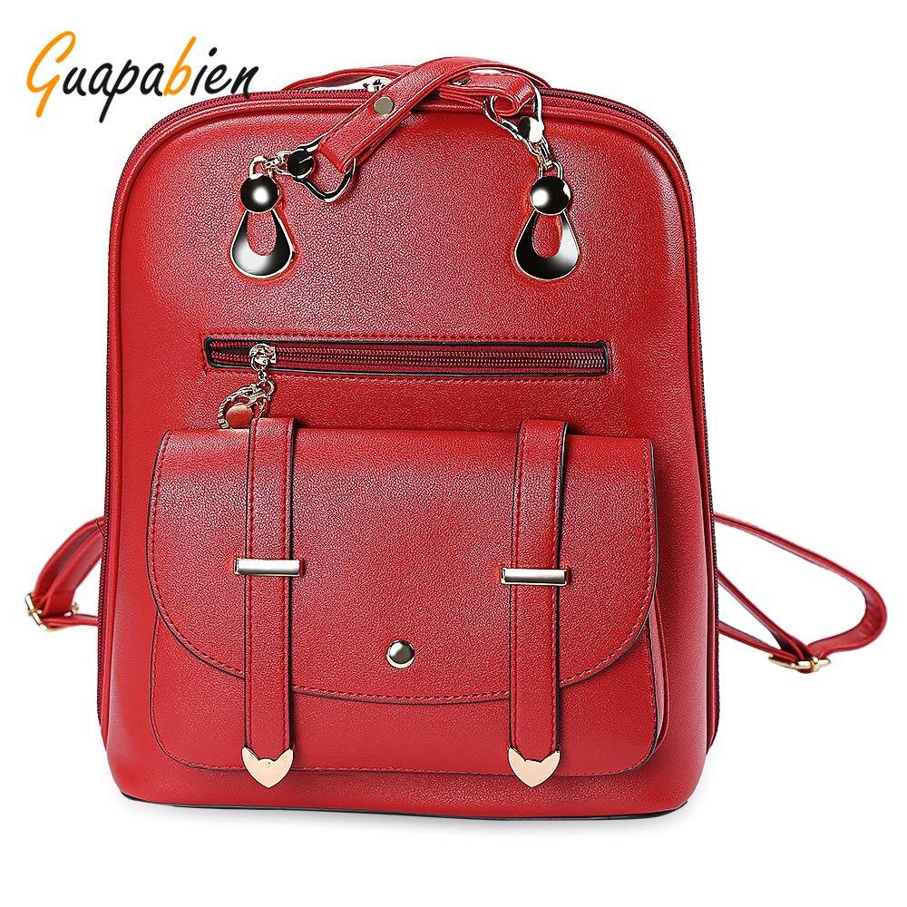 Guapabien Red Black PU Leather Backpacks for Teenage Women Backpack Girls Female School Shoulder Bag Travel