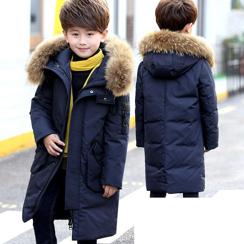 -30 Degree Fashion Boys Down Jackets 2017 Winter Russia Baby Coats Thick Duck Warm Jacket For Boys Children Outerwears 12 13 14 new 2017 russia winter boys clothing warm jacket for kids thick coats high quality overalls for boy down