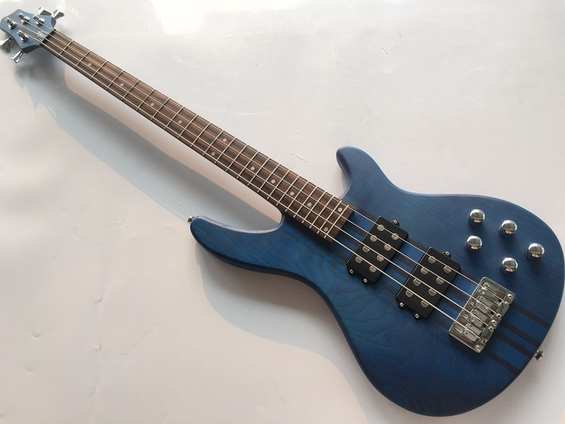 BLUE ashwood neck through active electric bass guitar 5 string 43 inch popular bass guitar