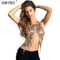 Sibybo Bralette Crop Top 2017 Summer Sexy Golden Tassel Sequined Women S Bra Cropped Top Handmade
