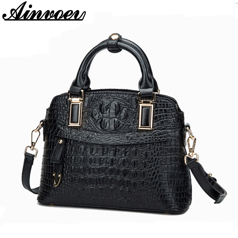 Ainvoev women leather handbag fashion shoulder bag Crocodile pattern female crossbody bag big capacity tote brand 2018 New a1836 yuanyu 2018 new hot free shipping import crocodile women chain bag fashion leather single shoulder bag small dinner packages