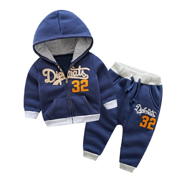 LittleSpring 2017 New Fashion Fleece Lining Hoodies with Trousers Boys Winter Sets Spring Boy Warm Outfits Set Baby Kid Clothes