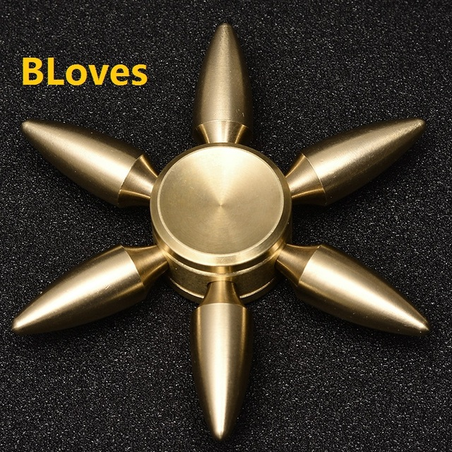 Bloves Fidget Spinner Six Bullet Gold 3D Heavy Quiet Metal Wheel Anti Stress Tri-Spinner Hand Spinner Kids Toys With CE