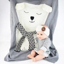Envelope for Newborns Linens Baby bedding Rabbit/Bear/Cat Blanket Warm Wool muslin Swaddle Kids Bath Towel Blanket for Newborn