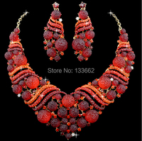 Hot Sale Red African Coral Beads Shamballa Crystal Bridal Wedding Jewelry Sets Dinner Statement Necklace Earrings