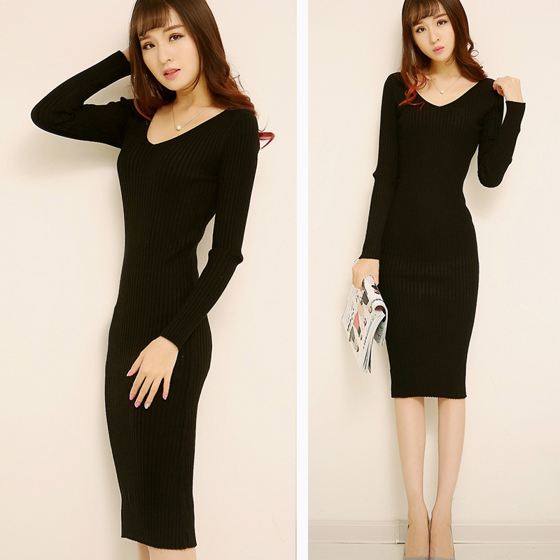 Autumn long section long-sleeved knit dress women Slim V-neck sweater bottoming package hip step t