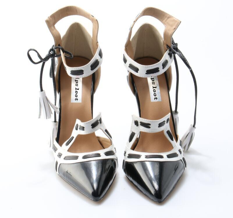 Black Patent Leather Toe White / Black Straps Women Sexy Pumps Ankle - Әйелдер аяқ-киімі - фото 2