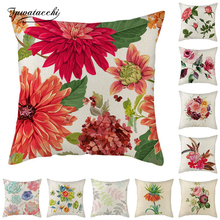 Fuwatacchi Flowers Cushion Cover Rose Daisy Painted Pillow for Home Chair Sofa Decorative Pillows Linen Throw 45*45