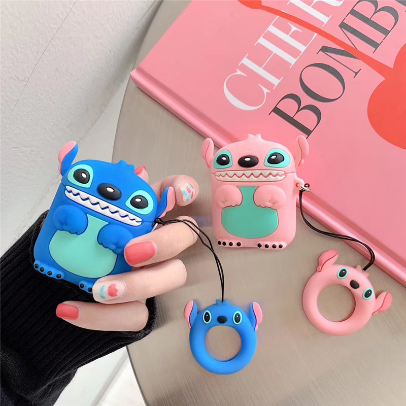 Soft Silicone Case For Apple Airpods Cute Cartoon Stitch Protective Cover With Finger Ring Strap For Airpods Charge Accessories